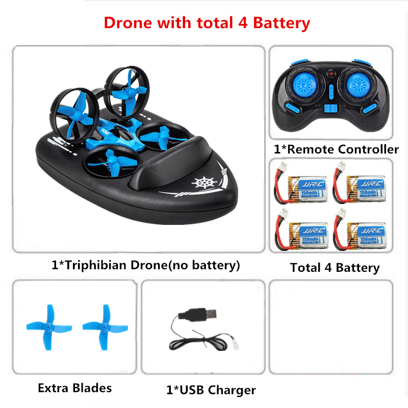 JJRC H36F 3in1 RC Drone Quadcopter/Vehicle/Hovercraft Boat Mini Drone Kids Toys For Sea Land and Air VS JJRC H36 E010