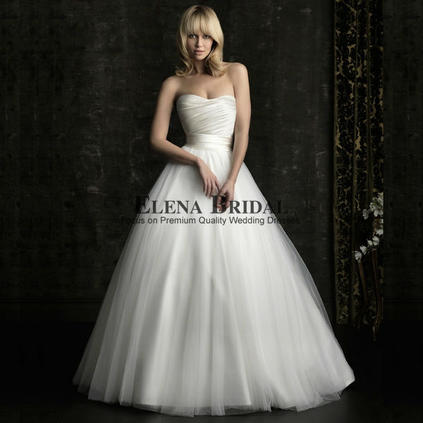 Simple Sweetheart Neckline Strapless Satin And Voile Court Train Princess Ball Gown Wedding Dress Free
