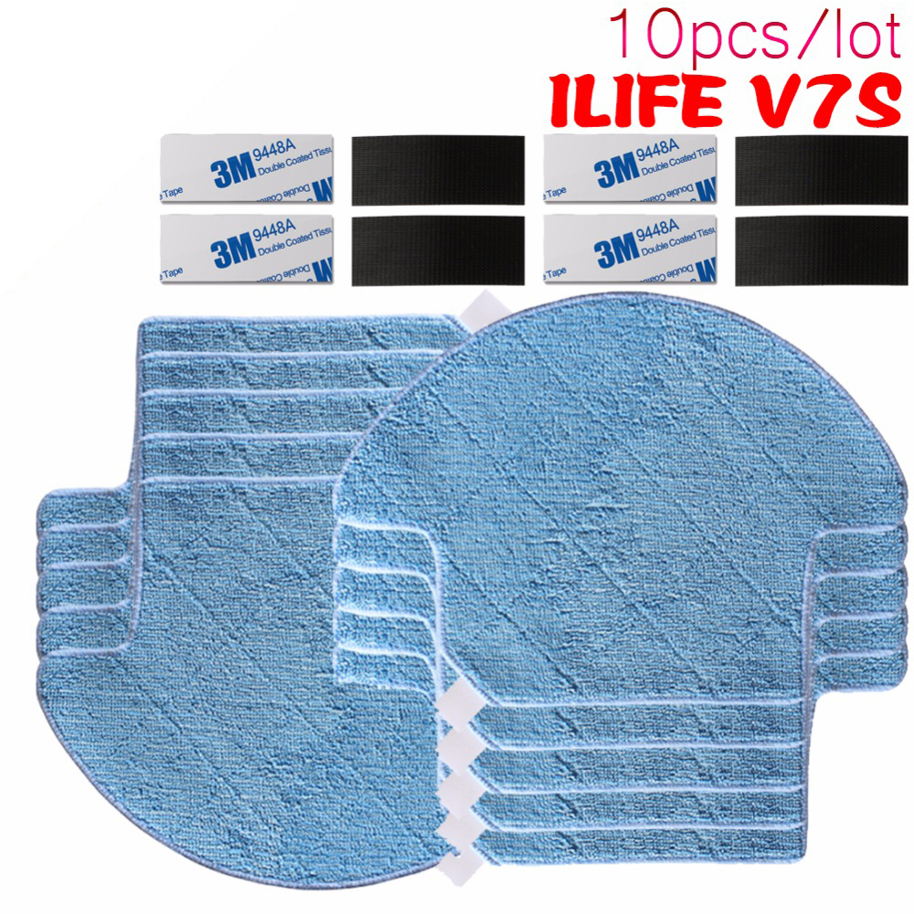 10pcs/lot High quality chuwi ilife Robot Vacuum Cleaner MOP Cloths for ILIFE V7S Replacement Mop Cleaning Robot Vacuum Cleaner good quality 5300mah 3 7v replacement battery for for irobot bravva jet 240 241 244 robot cleaner parts accessoies not mop