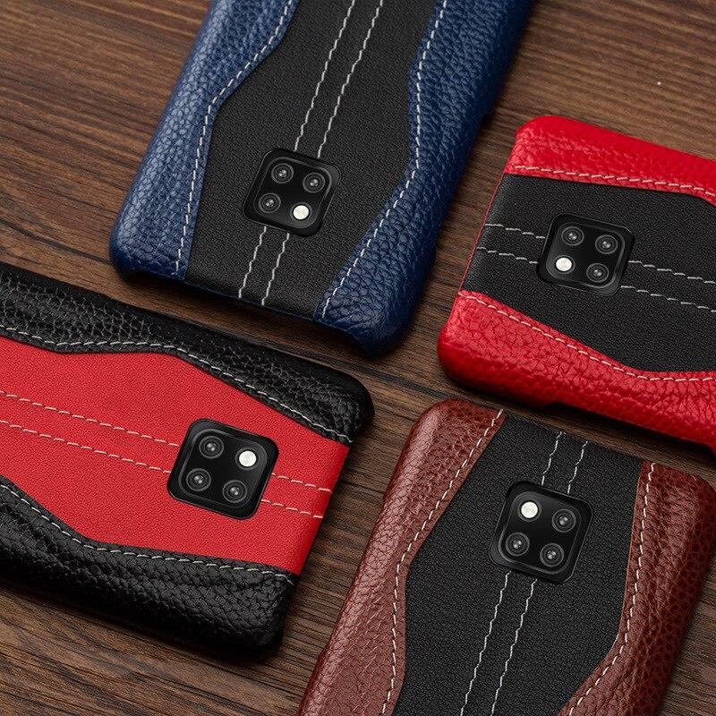 Newisdom Pour Huawei Compagnon 20 Cas De Luxe En Cuir NATUREL mate20 Pro 20 lite Dur de Couverture Arrière De Protection Cas D'affaires Vintage