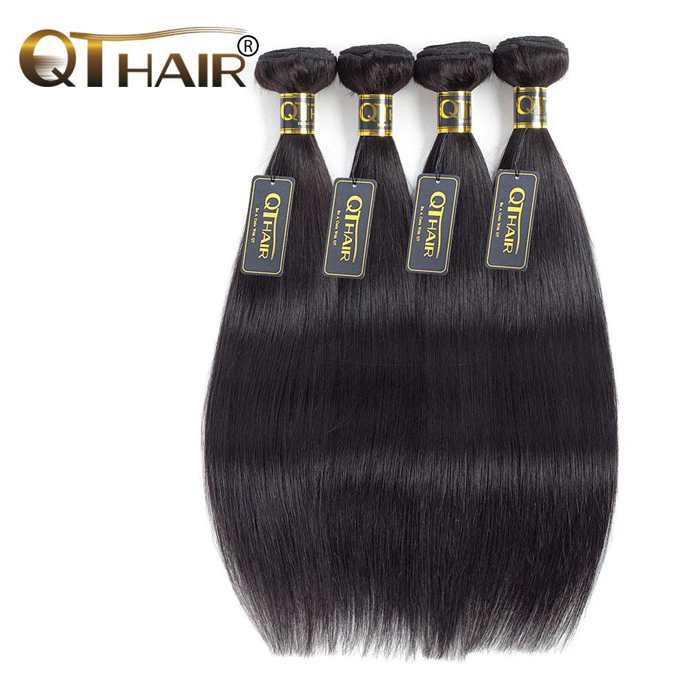 QThair Peruvian Hair Straight Non-remy 100% Human Hair Weave Bundles Natural Black Color Free Shipping