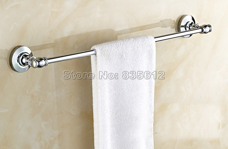 Chrome Finish Wall Mounted Bathroom Single Towel Rack Bars Towel Bar Wba803 aothpher chrome 60cm wall mounted bathroom chrome polish towel bars towels racks stainless single towel bar for bathroom