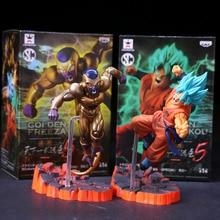 15CM Anime Dragon Ball Super Figure Goku Super Saiyan God Blue Hair Gold Freeza Collecting Model Toy Redivious F