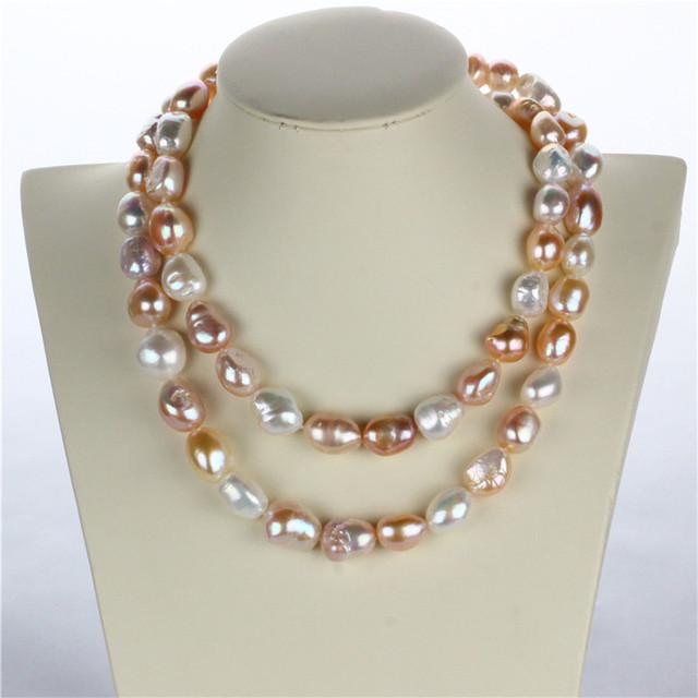 Snh 100% real genuine cultivadas 12mm barroca pérola natural de água doce colar de design de jóias para as mulheres 925 fecho de prata esterlina