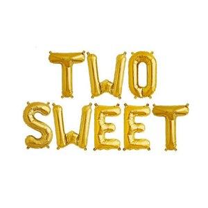 Image 4 - 1 Juego de globos de aluminio con forma de letras, 16 pulgadas, oro rosa, dos dulces globos de Donut para baby shower, decoración de fiesta de 2 ° cumpleaños, proveedor de fiesta