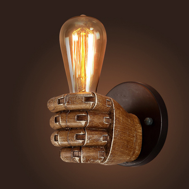 Retro Fist Wall Lamp Resin Antique Wall Mounted Lamp E27 Edison Bulb Holder  Hand Shape Vintage