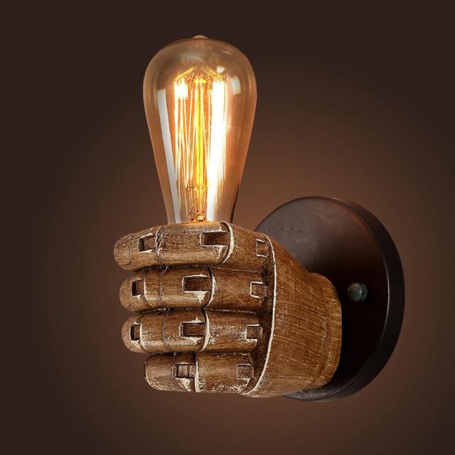 Retro fist wall lamp resin antique wall mounted lamp e27 edison bulb retro fist wall lamp resin antique wall mounted lamp e27 edison bulb holder hand shape vintage aloadofball Gallery