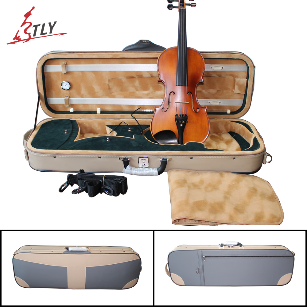 TONGLING وین ویولن ضد آب چرم مصنوعی جدید w / Hygrometer high-end violin Case for 4/4 Violin Fiddle