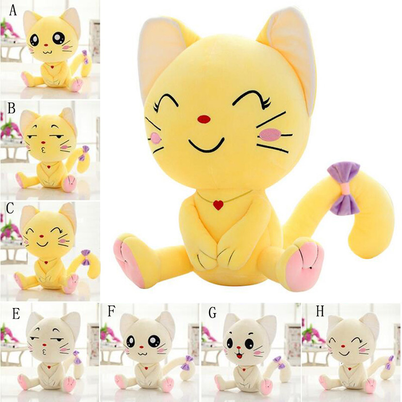 A macska plüss babák új, kreatív, aranyos szép kifejezése felnőttek plüss játékokkal