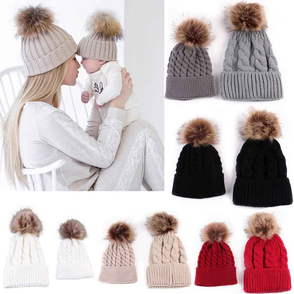 5Colors Mom And Baby Hat with Pompon Warm Raccoon Fur Bobble Beanie Kids  Cotton Knitted Parent-Child Hat Winter Caps Xmas Gift a2dfc2bf90cf