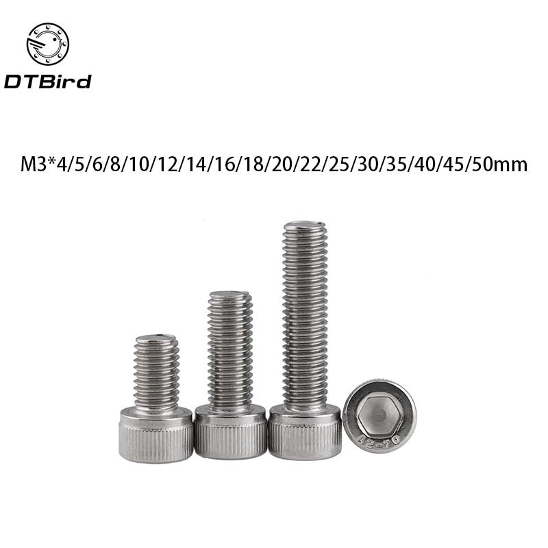100pcs Metric Thread DIN912 M3 304 Stainless Steel Hex Socket Head Cap Screw Bolts M3*(4/5/6/8/10/12/14/16/18/20/22/25/30/35/40)