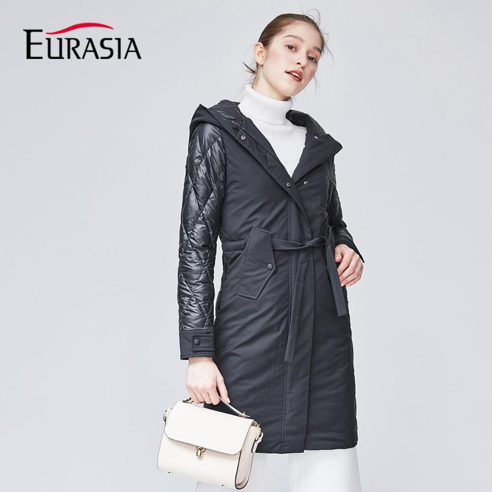 EURASIA 2018 New Brand Clothing Women Spring Autumn   Parkas   Womens Long Thin Casual Spliced Hat Jacket With Warm Coat MD1839