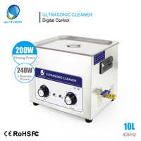 Nettoyeur Ultra sonique SKYMEN 10L 240 W avec contrôleur de bouton minuterie de chauffage bain paniers en acier inoxydable Machine de nettoyage Ultra sonique