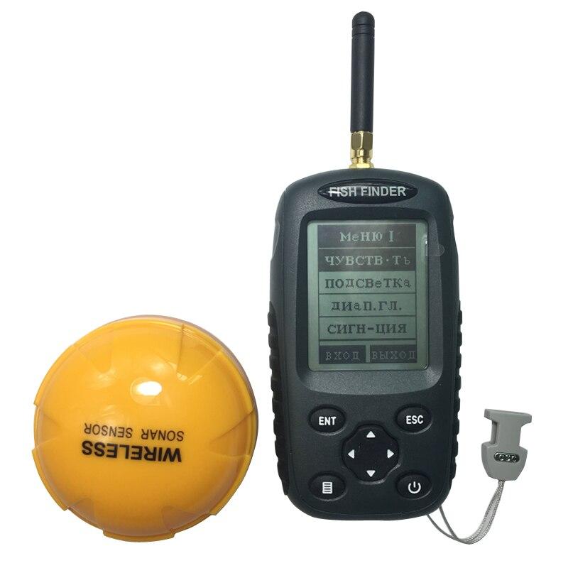 FFW718 Amélioré Rechargeable Russe Anglais Menu Sans Fil Fish Finder 125 kHz Capteur Sonar Sondeur Étanche Sondeur