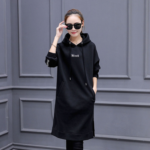2016 Autumn New Arrival Sweatshirts Hoodies Women Casual Letter Embroidered Casual Pullovers Sweatshirts Plus Size Long Hoody
