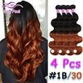 Ombre Brazilian Virgin Hair Body Wave 4 Bundles #1B/30 2 Tone Brazilian Hair Weave Bundles Ombre Dark Brown Brazilian Body Wave