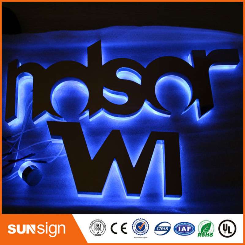 Taobao Gold Supplier Flat Stainless Steel Led Backlit Logo Signs