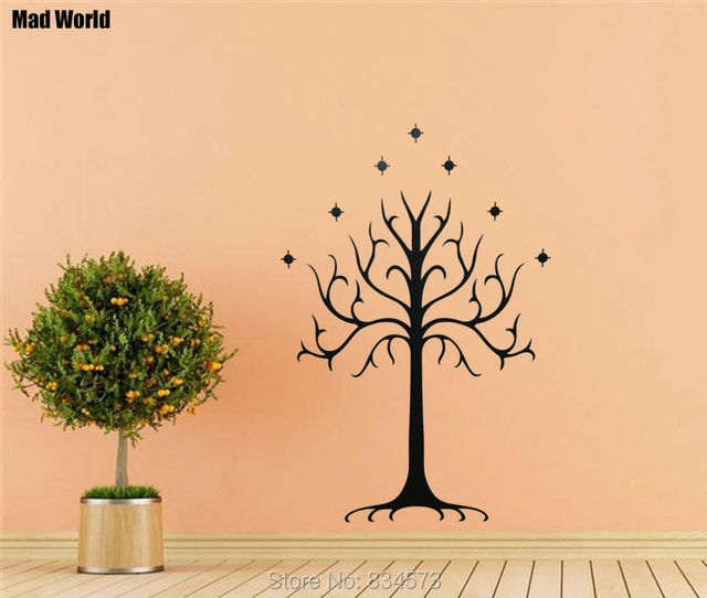 Mad World Cartoon White Tree Silhouette Wall Art Stickers Wall Decal Home DIY Decoration Removable Room Decor Wall Stickers-in Wall Stickers from Home ...
