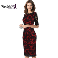 Fantaist Women Vintage Scalloped Elegant Cocktail Party Formal Business Office Work Bodycon Pencil Midi Full Floral