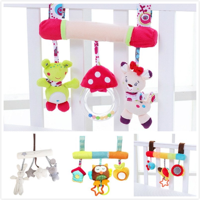 Soft Animal Baby Stroller Rattles Plush Spiral Baby Toys For Children Cute Educational Infant Baby Room Decor Ring Rattle Gifts