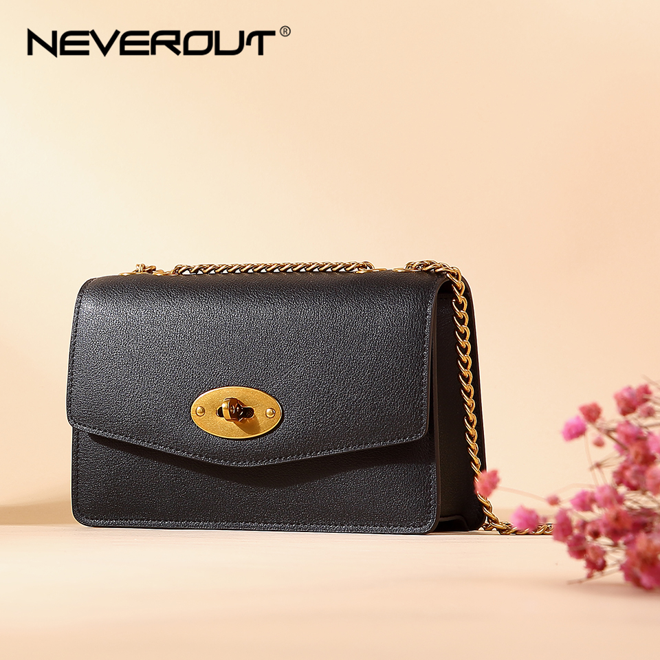 NEVEROUT Ladies Crossbody Bags for Women Genuine Leather Shoulder Sac Woman Solid Flap Small Bags Female