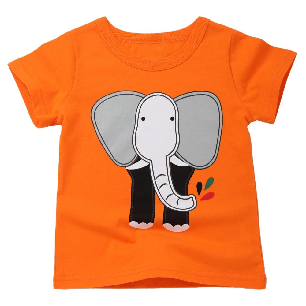 Orange Elephant Boys Girls T-Shirt Cotton Short Sleeve Summer Tshirt for 2 To 8 Years Old Kids