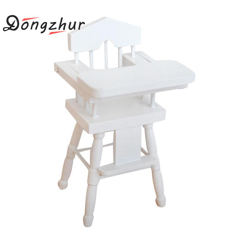 Dollhouse Miniature 1:12 White Birch Baby Dining Chair High Quality Miniaturas Doll House Furniture Accessories Wooden Toy House