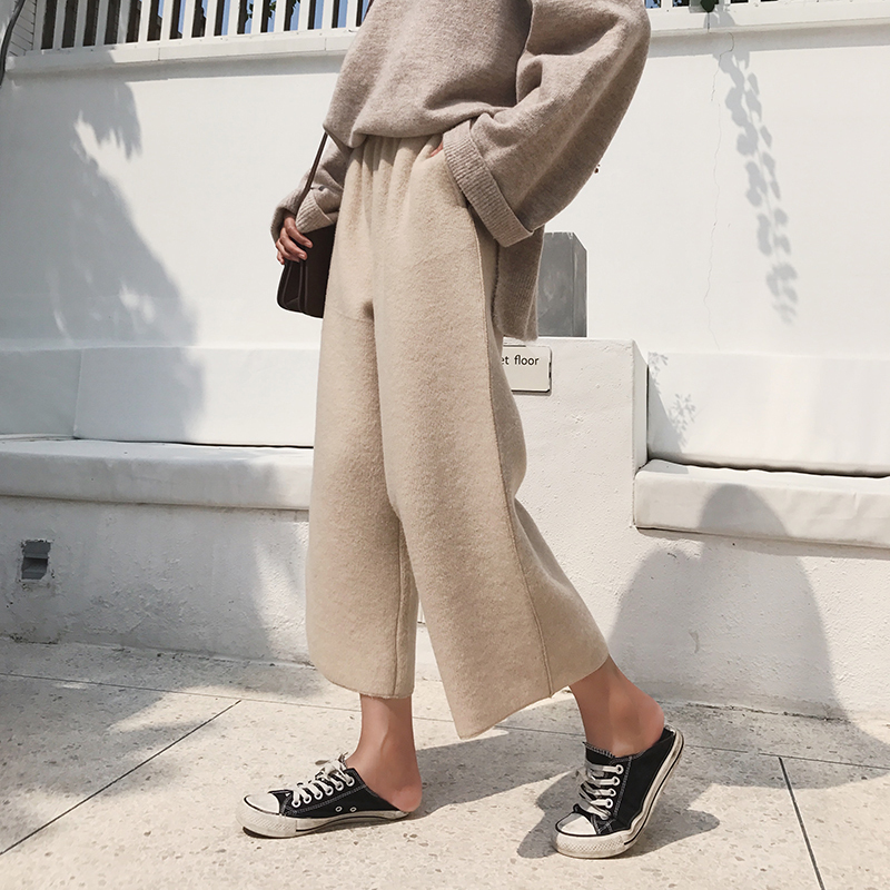 Thick woolen material nine points   wide     leg     pants   female 2019 autumn and winter high waist was thin casual   pants   tide