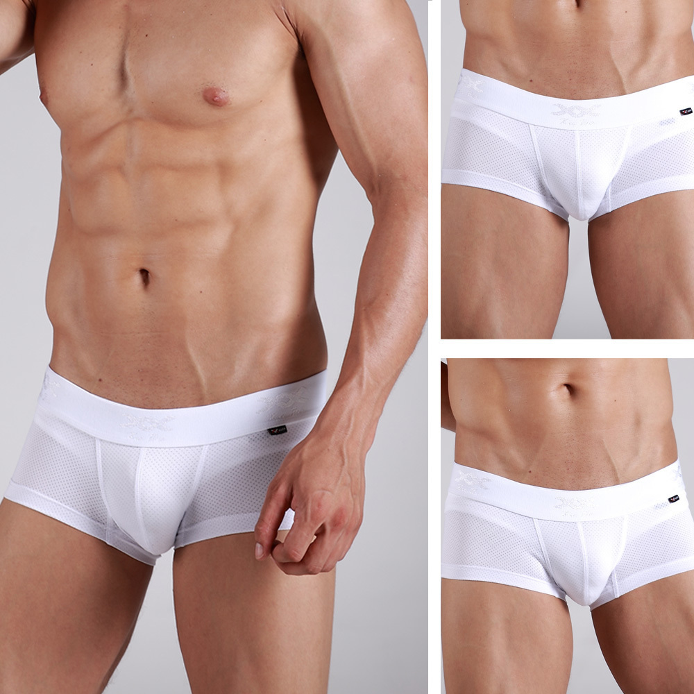 f3418b3d8f4f XUBA New Breathable Men's Sexy Airy Boxer Briefs Cool Low Waist Underwear  White