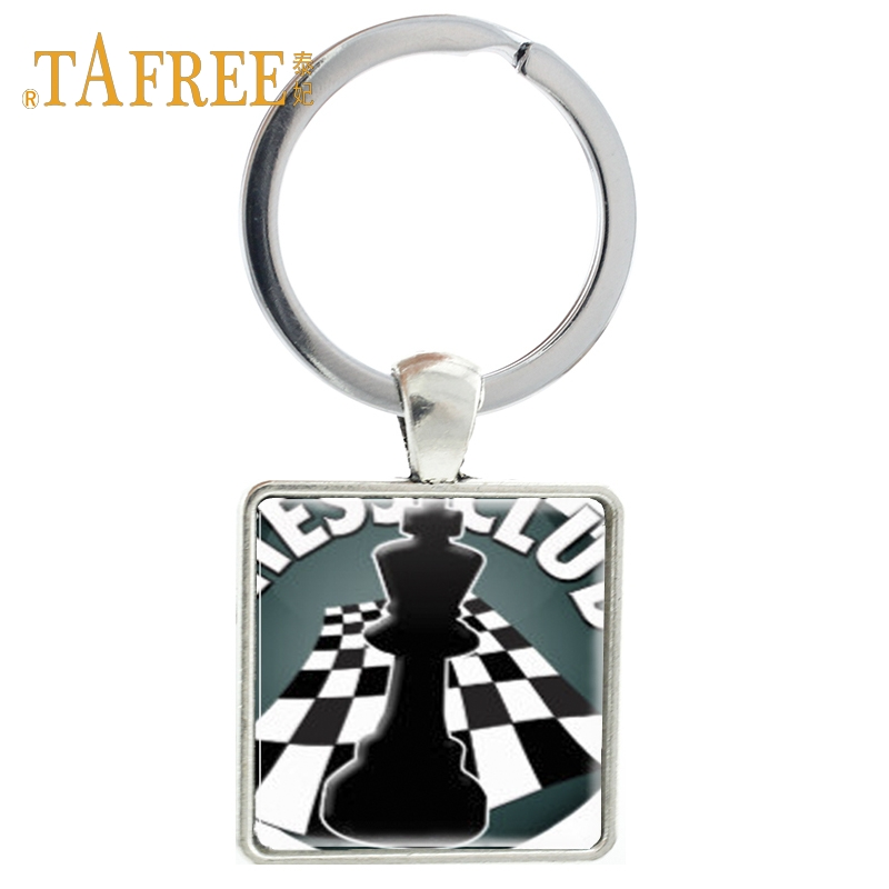 TAFREE Vintage Chess culb Keychain keep quiet the Chess player at game key holder car keyring for men key chain jewelry CH51 image