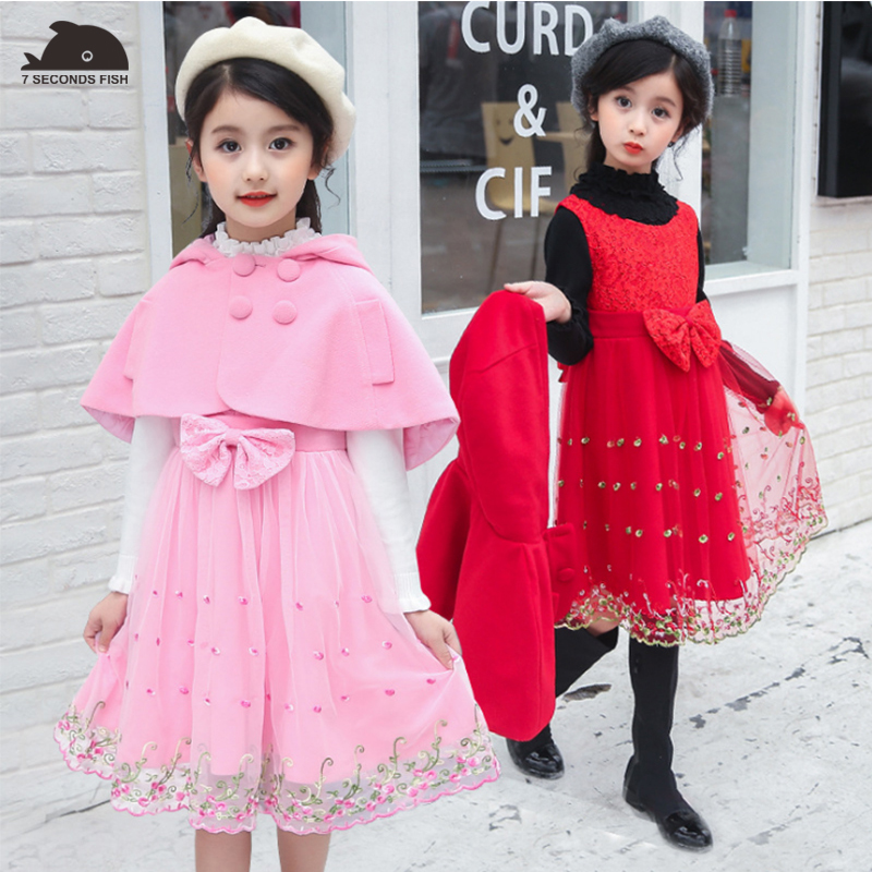 Girls Winter Elegant Dress 2018 Cloak+Dress Baby Teenagers Thick Warm Princess Party Lace Dress for 5-10 Year Children Clothes hot sale open front geometry pattern batwing winter loose cloak coat poncho cape for women