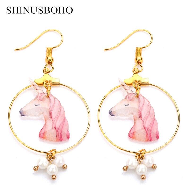 Candid Shinusboho Imitation Pearls Drop Earrings For Women Handmade Cute Unicorn Long Earrings Female Gifts Oorbellen Accessories