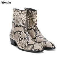 2019 Genuine Leather Pointed Toe Men Ankle Boots Alligator Snakeskin Plaid Sexy Leopard Print Luxury Platform Chelsea Boots