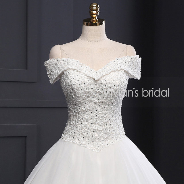 Online Shop Vivian\'s Bridal A Line Wedding Dress Off Shoulder Beaded ...