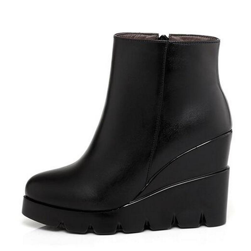 Coins Souple Hiver Femmes Cuir Talons Femme Cheville Pour En Chaussures 34 Bottes 2018 Automne Taille forme Fille Mode Noir Plate Haute 40 wqCv4v