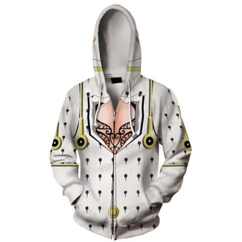 PowerTop Anime JoJos Bizarre Adventure Zip-Up Jacket Hoodie Pullover Sweatshirt Coat Jonathan Joestar Graphic Costume