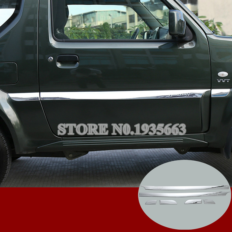 For Suzuki Jimny ABS Chrome Side Door Body Molding Cover Trim 2007-2015 6pcs nitro triple chrome plated abs mirror 4 door handle cover combo