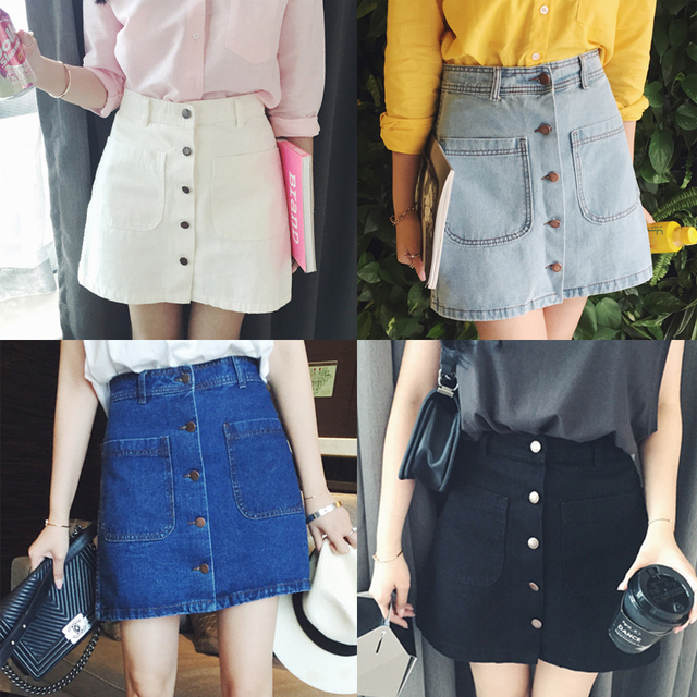Double Pocket Button High Waist Women Denim Skirt 2019 New Fashion Package Hip Casual Cintage A-line Summer Skirt 1