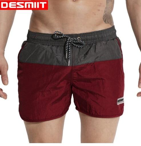 2018 Desmiit Plus Size summer Men beach   Shorts   Swim Boxers Swimming Trunks Light Thin Patchwork Beachwear loose   board     shorts