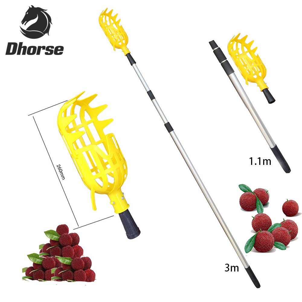Dhorse Plastic Fruit Picker With Telescopic Pole Garden Horticultural Pick Apple Peach Tool Picking Fruit Labor Saving Tool 1pc plastic fruit picker without pole fruit collector gardening picking tool garden tool s08 drop ship