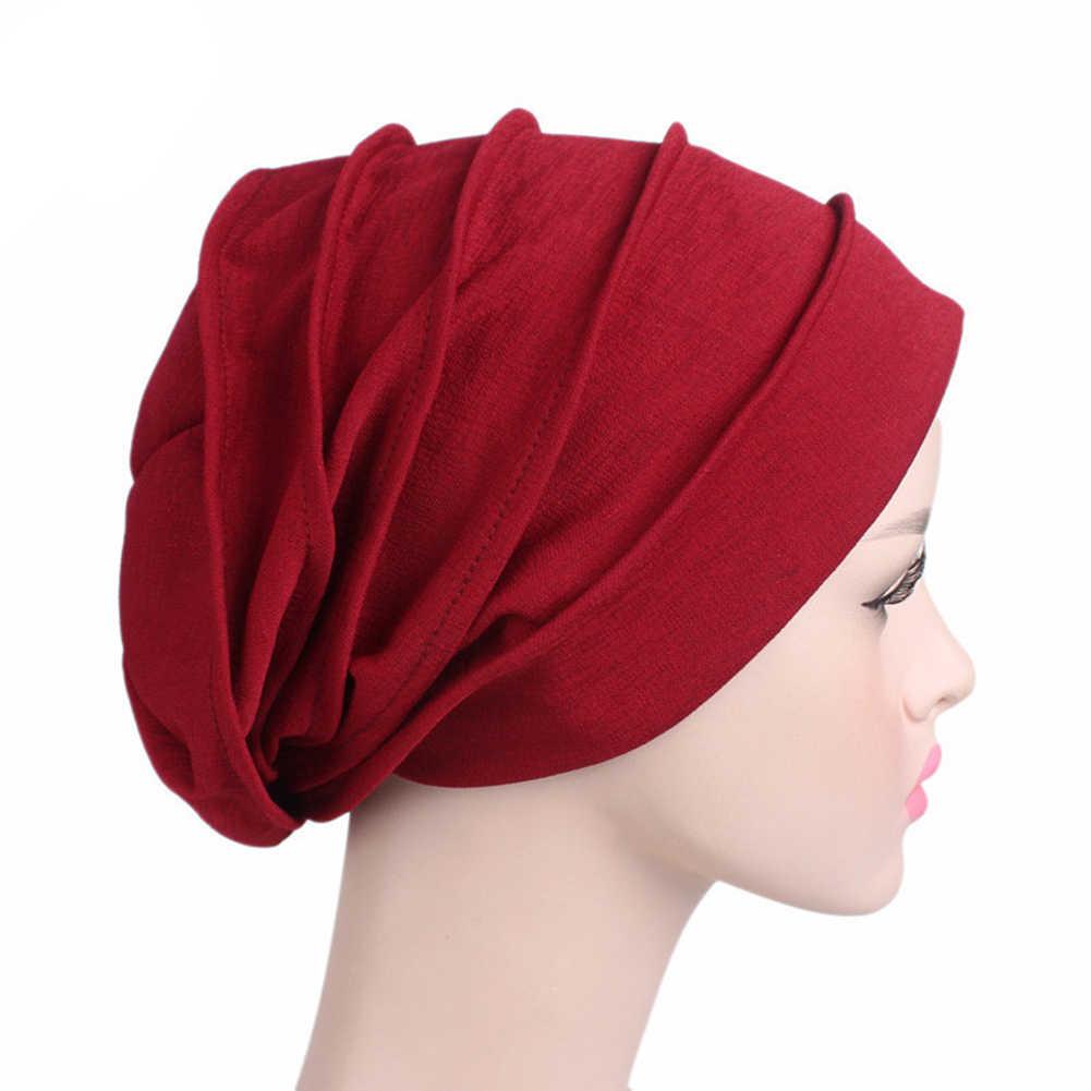 الجملة النساء القطن تنفس قبعة المرأة الجديدة الحجاب عمامة غطاء رأس القماش مطاطا قبعة السيدات إكسسوارات الشعر وشاح إسلامي قبعة