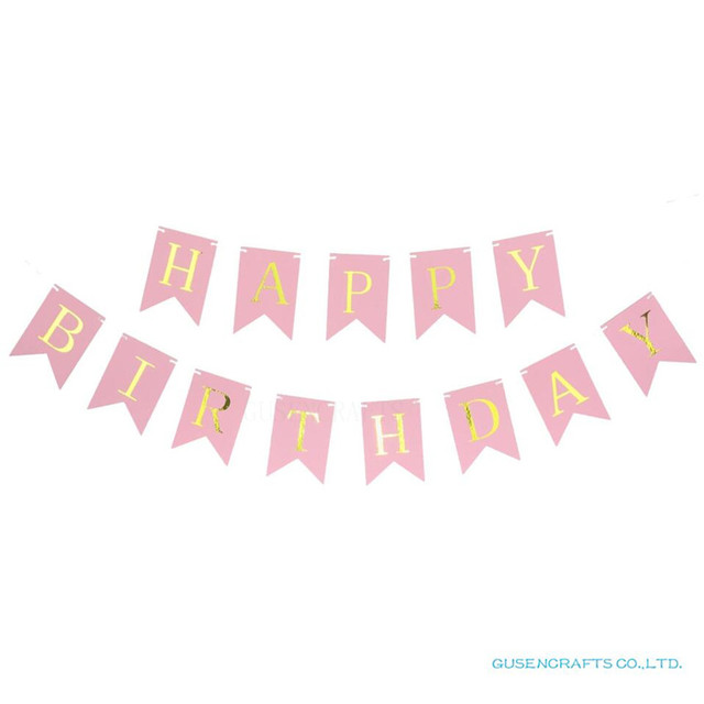 Glitter Paper Birthday Party Hanging Bunting Banner Flag: Glitter Happy Birthday Bunting Banner Gold Letters Hanging