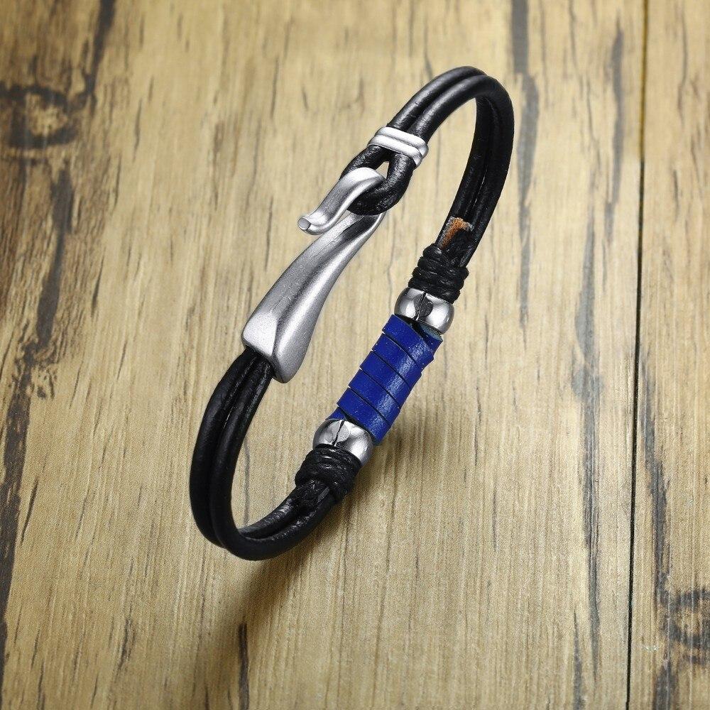 Alloy Hook Up Closure Clasp Bracelet for Men Navy Black Blue Leather Bracelets Braslet Bangle Brackelts Brazalet