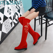 hot deal buy maziao new fashion thigh high snow boots women autumn winter casual high heels wedge knee high boots soft flock long shoes woman