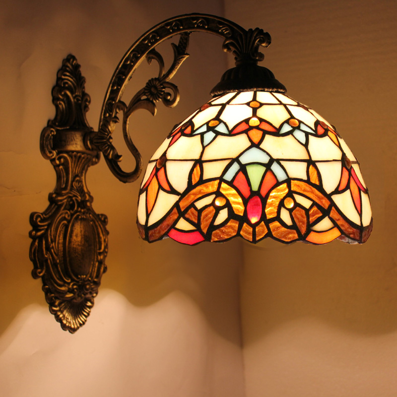tiffany fashion European style wall lamp Baroque Bohemia mirror light rustic bed lighting lamps