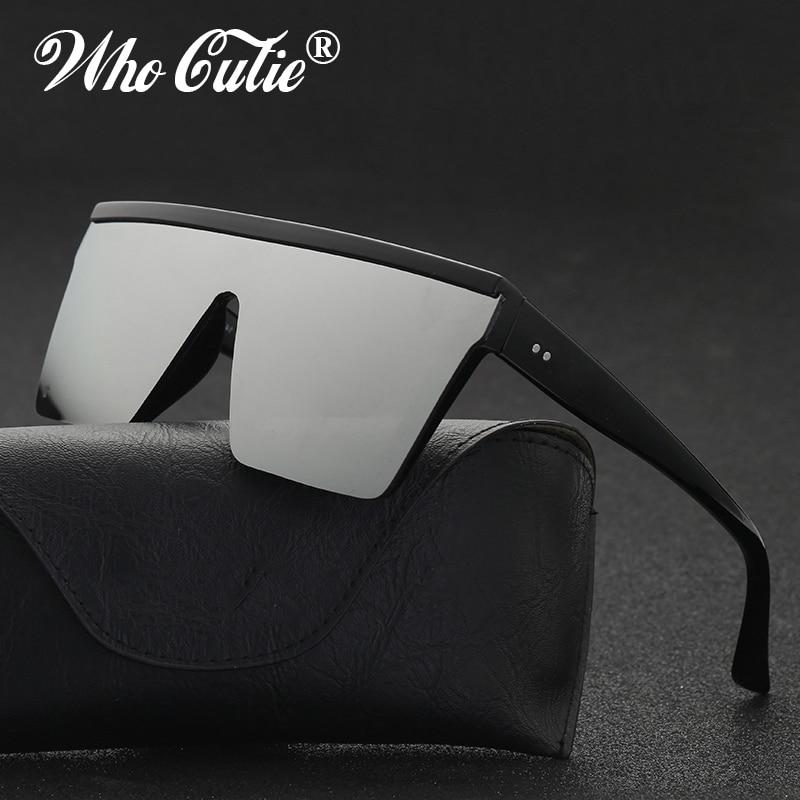WHO CUTIE 2019 Black One Piece Shield Sunglasses Women Men Brand Design Square Frame Flat Top Cool Male Sun Glasses Shades OM768