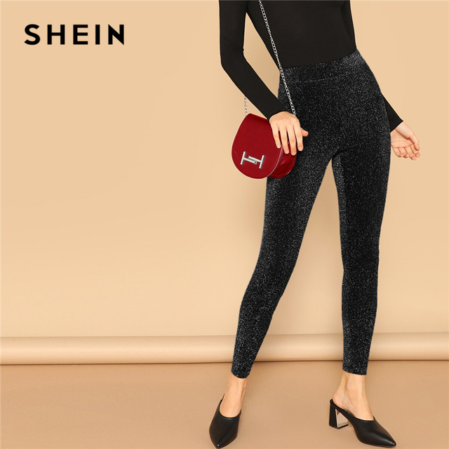 SHEIN Silver Glamorous Elastic Waist Sparkle Maxi Leggings Spring Women Streetwear Casual stretchy Solid Leggings Pants 4