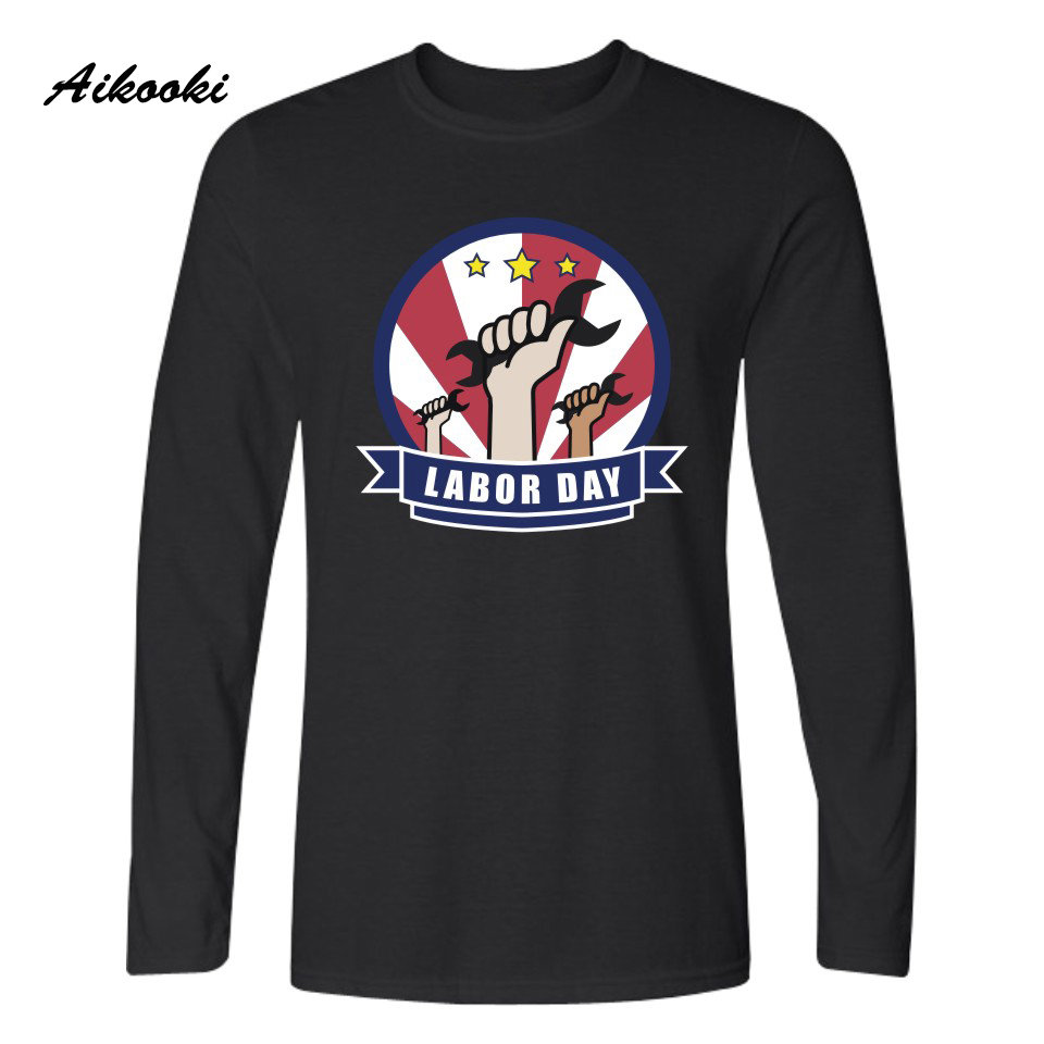 Aikooki 2018 Cotton T Shirt Cool Casual Street Tops Black White Plus T-shirt Funny Work Day Long Sleeve Spring T Shirt Printing