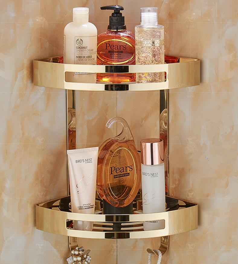 Hot Sale Wall Mounted Gold Stainless Steel Bathroom Soap Dish Bath Shower Shelf Bath Shampoo Holder Basket Holder Corner Shelf