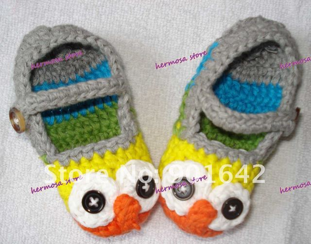 Handmade Cotton OWL Baby Shoes Toddler Girls Boys Crochet First walker Shoes 30 pairs /lot EMS Fast Free Shipping
